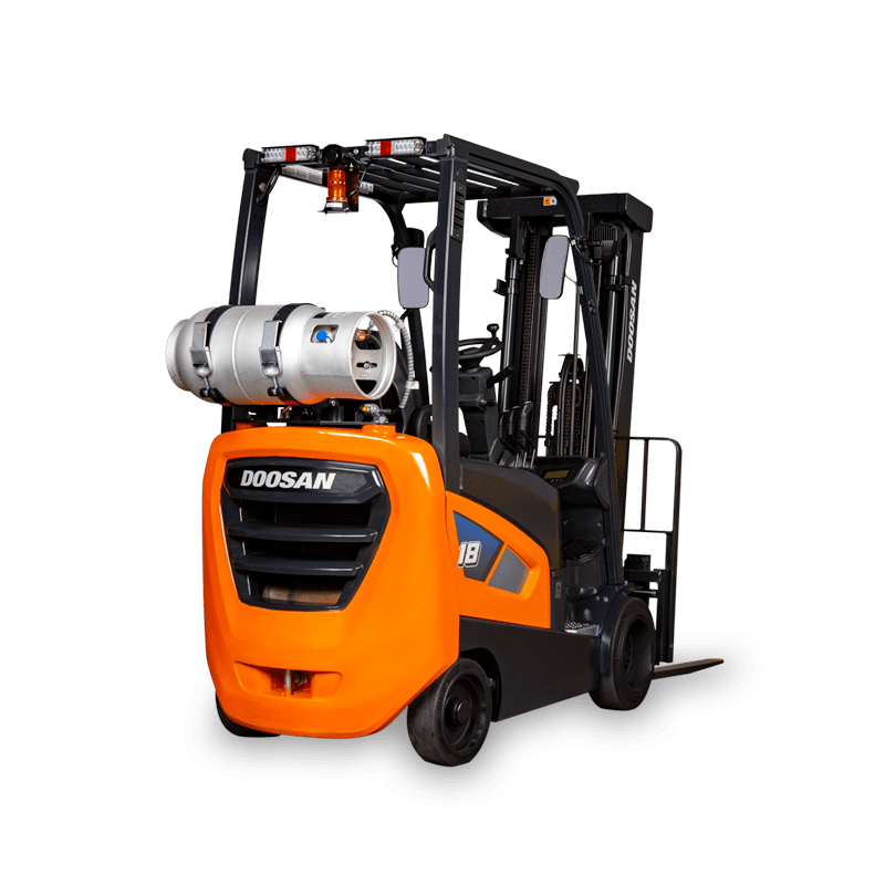 Doosan Forklift back vlear background