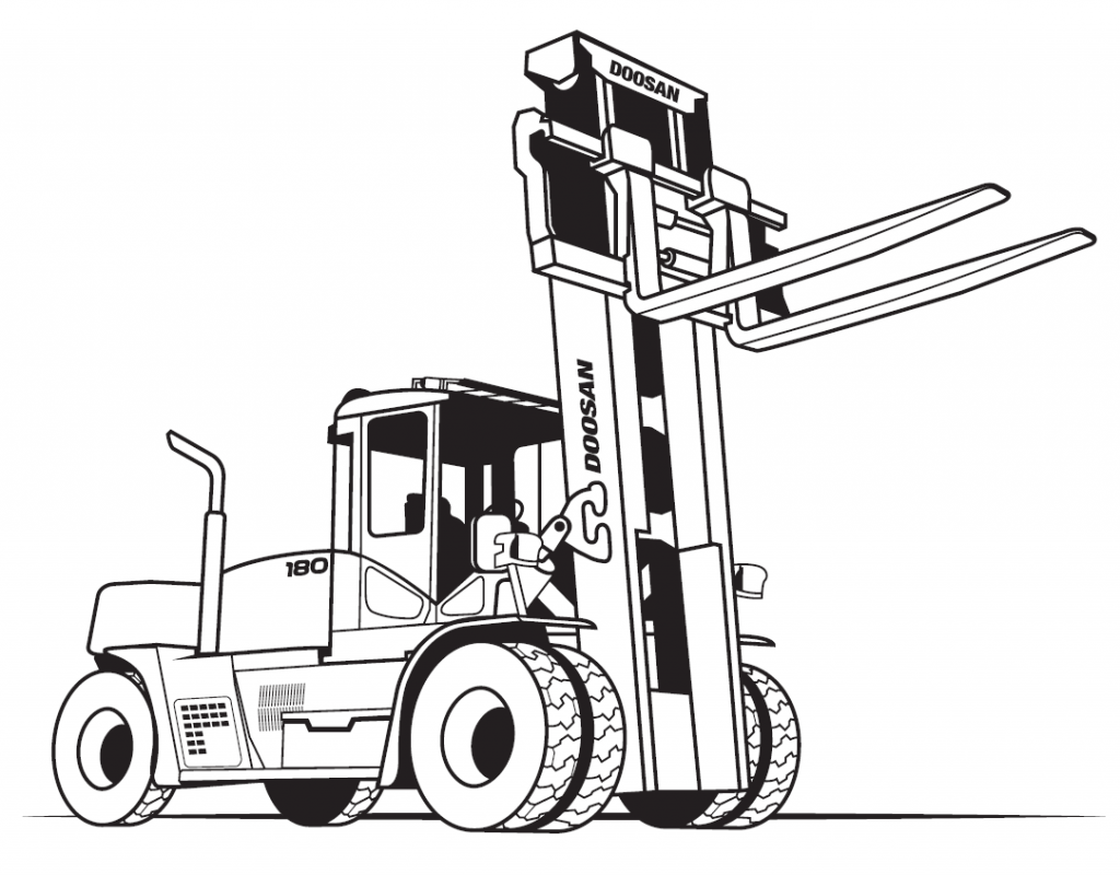 coloring page of forklift