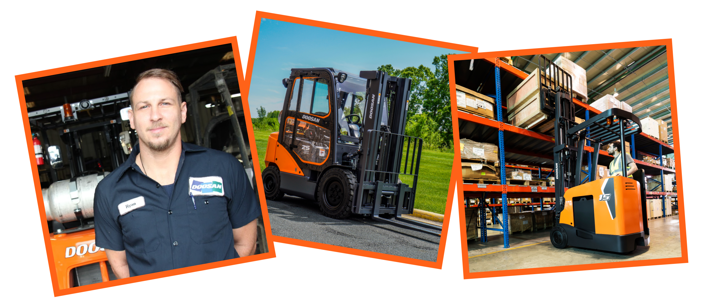 collage of forklift pictures