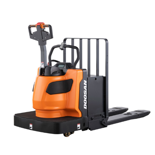 Doosan's 9 Series Electric Rider Pallet Trucks are absolutely essential for unloading and moving shipments from suppliers.